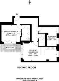Large floorplan for De Beauvoir Apartments, Dalston, N1
