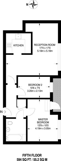 Large floorplan for Umberston Street, Aldgate, E1