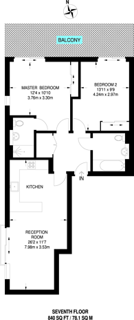 Large floorplan for Upper Richmond Road, Putney, SW15