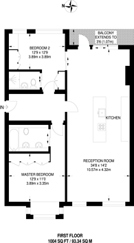 Large floorplan for Rayners Road, Putney, SW15