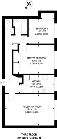 Large floorplan for Portinscale Road, East Putney, SW15