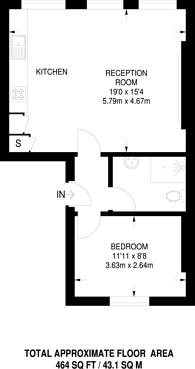 Large floorplan for Hunter Street, Bloomsbury, WC1N