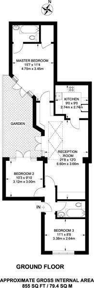 Large floorplan for Alexander Road, Upper Holloway, N19