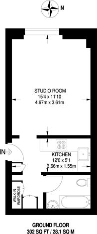 Large floorplan for Judd Street, Bloomsbury, WC1H