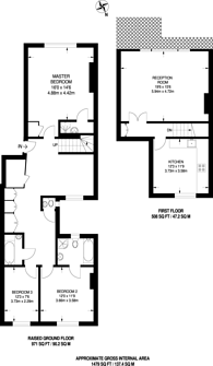 Large floorplan for Kensington Gardens Square, Notting Hill Gate, W2