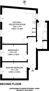 Large floorplan for Coldharbour Lane, Camberwell, SE5