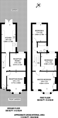 Large floorplan for Bonsor Street, Camberwell, SE5