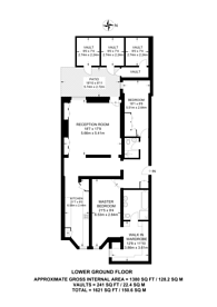Large floorplan for Queens Gate Gardens, South Kensington, SW7