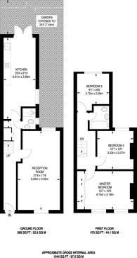 Large floorplan for Lynton Road, Bermondsey, SE1
