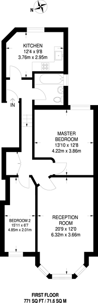 Large floorplan for Winchester Avenue, Queen's Park, NW6
