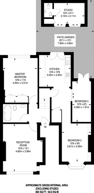 Large floorplan for Woodland Gardens, Muswell Hill, N10