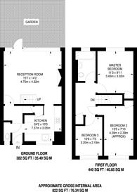 Large floorplan for Rosefield Gardens, Canary Wharf, E14