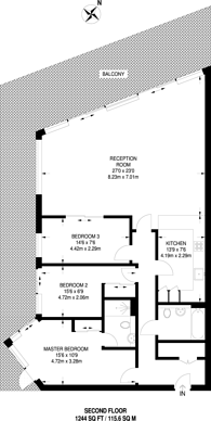 Large floorplan for Battersea Reach, Wandsworth Town, SW18