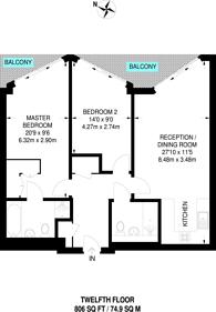 Large floorplan for Riverlight, Nine Elms, SW11