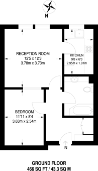 Large floorplan for Wimbledon Parkside, Wimbledon Common, SW19