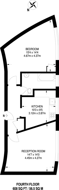 Large floorplan for West Kensington Court, Barons Court, W14