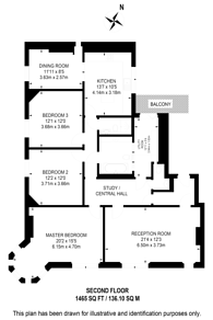Large floorplan for Elgin Avenue, Maida Vale, W9