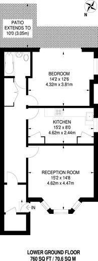 Large floorplan for Lewin Road, Streatham Common, SW16