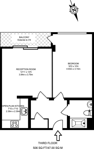 Large floorplan for Westgate Apartments, Royal Docks, E16