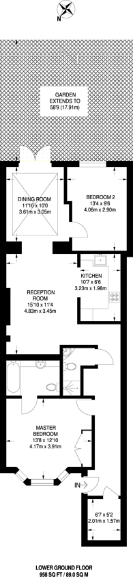 Large floorplan for Sutherland Avenue, Maida Vale, W9