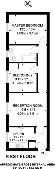 Large floorplan for Blackheath Hill, Greenwich, SE10