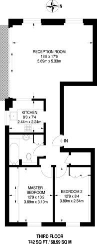 Large floorplan for Elm Park Road, South Kensington, SW3