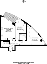 Large floorplan for Charrington Tower, E14, Canary Wharf, E14