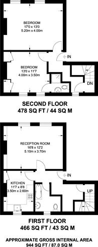 Large floorplan for Canonbury Square, Islington, N1