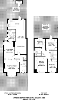 Large floorplan for Hallswelle Road, Temple Fortune, NW11
