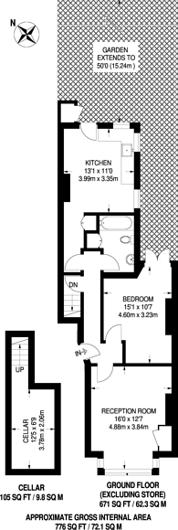 Large floorplan for Killyon Road, Clapham, SW8