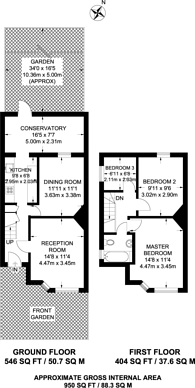 Large floorplan for Burney Avenue, Surbiton, KT5
