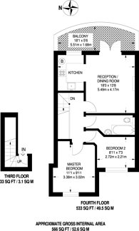 Large floorplan for Princes Square, Notting Hill, W2