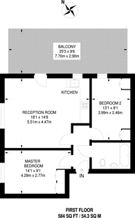 Large floorplan for West Street, Harrow on the Hill, HA1