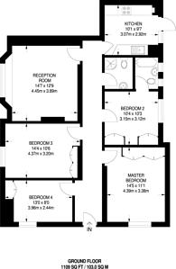 Large floorplan for Dollis Hill Lane, Dollis Hill, NW2