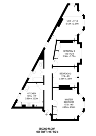Large floorplan for St Andrews Mansions, Barons Court, W14