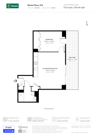Large floorplan for Wardian London, Canary Wharf, E14
