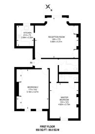 Large floorplan for Dukes Avenue, Chiswick, W4