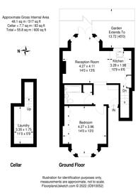 Large floorplan for Lavender Gardens, Clapham Junction, SW11