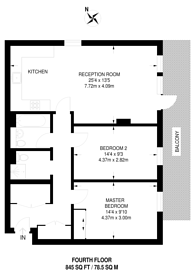 Large floorplan for Carlton Vale, Maida Hill, NW6