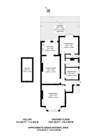 Large floorplan for Exeter Road, Kilburn, NW2