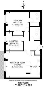 Large floorplan for Evershed Walk, Chiswick, W4