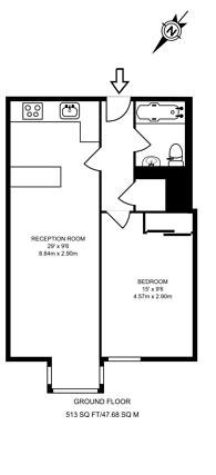 Large floorplan for The Falcons, Clapham Junction, SW11