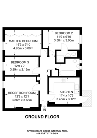 Large floorplan for Canterbury Terrace, Kilburn, NW6