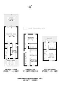 Large floorplan for Kings Avenue, Clapham, SW4