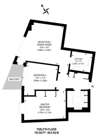 Large floorplan for Fairmont Avenue, Docklands, E14