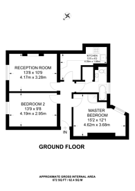 Large floorplan for Scott Ellis Gardens, St John's Wood, NW8
