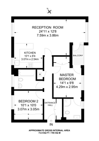 Large floorplan for Vantage Mews, Canary Wharf, E14