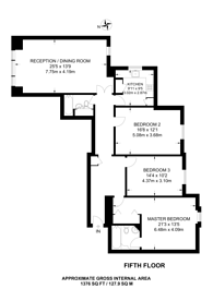 Large floorplan for Moscow Road, Bayswater, W2
