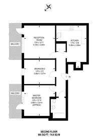 Large floorplan for Dance Square, Islington, EC1V