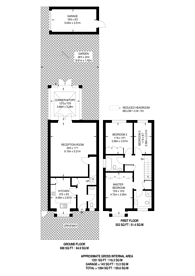 Large floorplan for Cottenham Park Road, Wimbledon, SW20